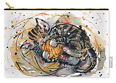 Tabby Kitten Playing With Yarn Clew  Carry-all Pouch