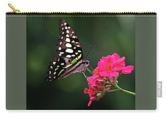 Tailed Jay Butterfly -graphium Agamemnon- On Pink Flower Carry-all Pouch