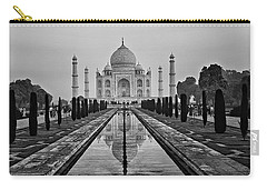 Carry-all Pouch featuring the photograph Taj Mahal In Black And White by Jacqi Elmslie