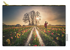 Carry-all Pouch featuring the photograph Taking Sunset Pictures Using A Mobile Phone by William Lee
