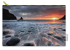 Carry-all Pouch featuring the photograph Talisker Bay Rocky Sunset by Grant Glendinning