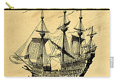 Carry-all Pouch featuring the drawing Tall Ship Vintage by Edward Fielding