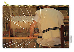 Carry-all Pouch featuring the photograph Jewish Prayer Shawl Weaving In Tzfat by Yoel Koskas