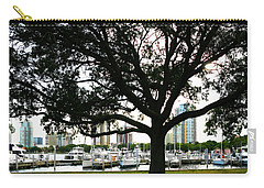 Carry-all Pouch featuring the photograph Tampa Shoreline And Skyline Through Tree by Marilyn Hunt