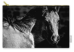 Taos Pony In B-w Carry-all Pouch