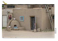 Taos Pueblo Adobe House With Pots Carry-all Pouch by Allen Sheffield