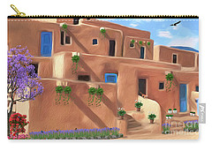 Taos Pueblo With Flowers Carry-all Pouch