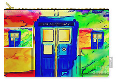 Carry-all Pouch featuring the digital art Tardis Three by Justin Moore