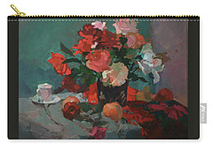 Tea And Peonies Carry-all Pouch