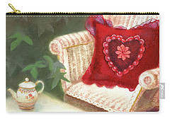Carry-all Pouch featuring the painting Tea In A Victorian Cottage Garden by Nancy Lee Moran