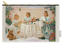 Carry-all Pouch featuring the pastel Tea In The Rose Garden by Nancy Lee Moran