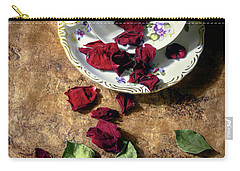 Teacup And Red Rose Petals Carry-all Pouch