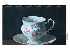Teacup And Saucer On Dark Background Carry-all Pouch