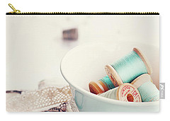 Teacup Full Of Vintage Spools Of Thread Carry-all Pouch