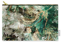 Carry-all Pouch featuring the painting Teal And Cream Abstract Painting by Ayse Deniz