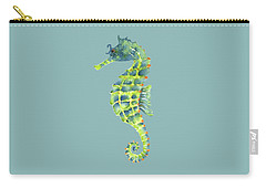 Teal Green Seahorse Carry-all Pouch by Amy Kirkpatrick