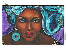 Carry-all Pouch featuring the painting Teal Headwrap by Alga Washington