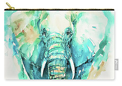 Teal N Turquoise Elephant Carry-all Pouch