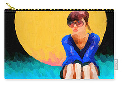 Carry-all Pouch featuring the digital art Teal Sneakers by Serge Averbukh