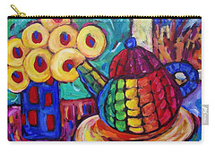 Carry-all Pouch featuring the painting Teapot And Flowers by Dianne  Connolly