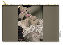 Teddy Bear And Ccat Carry-all Pouch