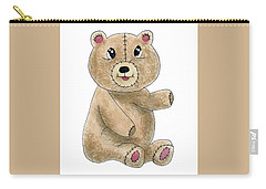 Teddy Bear Watercolor Painting Carry-all Pouch
