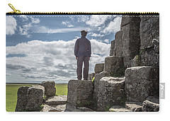 Carry-all Pouch featuring the photograph Teen Boy Standing On Basalt Rocks by Edward Fielding