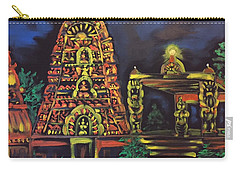 Carry-all Pouch featuring the painting Temple Lights In The Night by Brindha Naveen