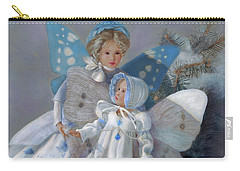 Carry-all Pouch featuring the painting Tenderness Snow Fairies by Nancy Lee Moran
