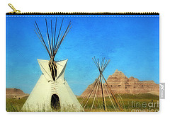 Tepee In Badlands Carry-all Pouch by Teresa Zieba