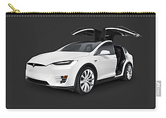 Tesla Model X Luxury Suv Electric Car With Open Falcon-wing Doors Art Photo Print Carry-all Pouch