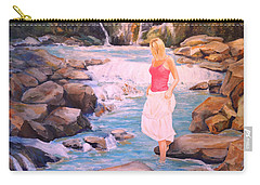 Carry-all Pouch featuring the painting Testing The Water by Alan Lakin