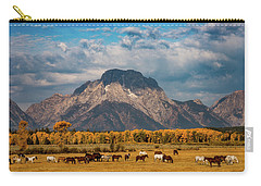Carry-all Pouch featuring the photograph Teton Horse Ranch by Darren White