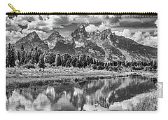 Tetons In Black And White Carry-all Pouch by Mary Hone