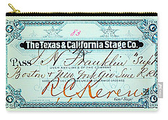 Carry-all Pouch featuring the drawing Texas And California Stage Company Boston And New York Air Line Railroad Ticket 19th Century by Peter Gumaer Ogden
