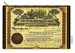 Carry-all Pouch featuring the drawing Texas Big Four Oil And Pipeline Company Stock Certificate 1901 With Oil Field And Tanker Train Scene by Peter Gumaer Ogden