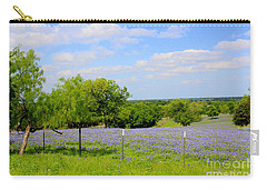 Carry-all Pouch featuring the photograph Texas Bluebonnet Field by Kathy White