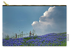 Carry-all Pouch featuring the photograph Texas Bluebonnets And Spring Showers by David and Carol Kelly