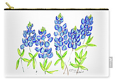 Texas Bluebonnets Watercolor Painting By Kmcelwaine Carry-all Pouch