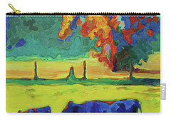 Texas Cow And Calf At Sunset Print Bertram Poole Carry-all Pouch by Thomas Bertram POOLE