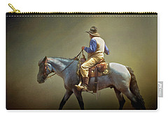 Carry-all Pouch featuring the photograph Texas Cowboy And His Horse by David and Carol Kelly