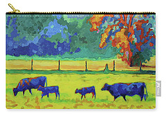 Texas Cows And Calves At Sunset Painting T Bertram Poole Carry-all Pouch