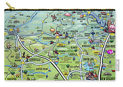 Texas Hill Country Cartoon Map Carry-all Pouch
