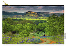 Carry-all Pouch featuring the photograph Texas Hill Country Ranch Road by Darryl Dalton