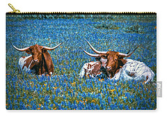 Texas In Blue Carry-all Pouch by Linda Unger