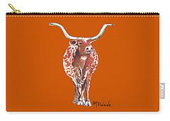 Texas Longhorn Taking The Lead Watercolor Painting By Kmcelwaine Carry-all Pouch