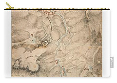 Carry-all Pouch featuring the drawing Texas Revolution Santa Anna 1835 Map For The Battle Of San Jacinto With Border by Peter Gumaer Ogden