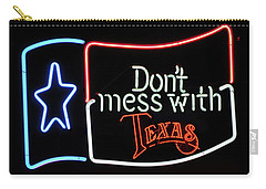 Carry-all Pouch featuring the photograph Texas Flag Saloon Neon by Daniel Hagerman