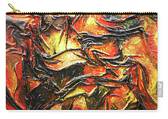 Carry-all Pouch featuring the mixed media Texture Of Fire by Angela Stout
