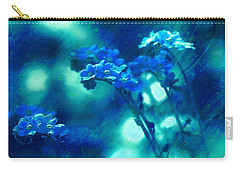 Carry-all Pouch featuring the digital art Textured Forget Me Nots by Fine Art By Andrew David